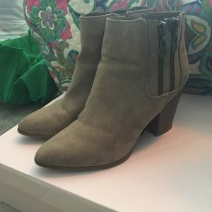 Taupe pointed toe booties